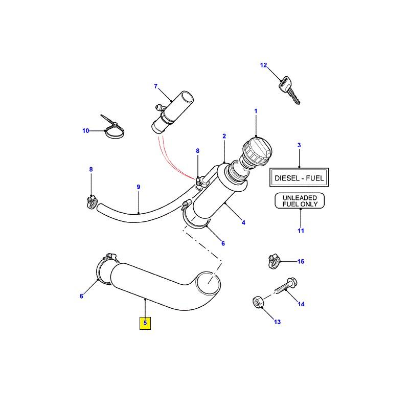 Genuine Land Rover Defender 110 XA /> carburant Remplissage Tuyau-WLH500070